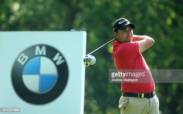 Jason Barnes of England tees off on the 3rd hole during day 1 of the BMW PGA Championship at Wentworth on May 21 2015 in Virginia Water England