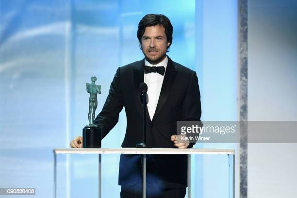 """Jason Bateman accepts Outstanding Performance by a Male Actor in a Drama Series for """"Ozark"""" onstage during the 25th Annual Screen ActorsGuild Awards..."""