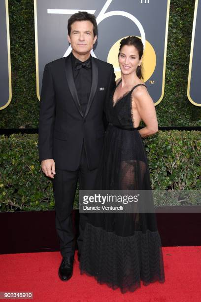 Jason Bateman and Amanda Anka attend The 75th Annual Golden Globe Awards at The Beverly Hilton Hotel on January 7 2018 in Beverly Hills California