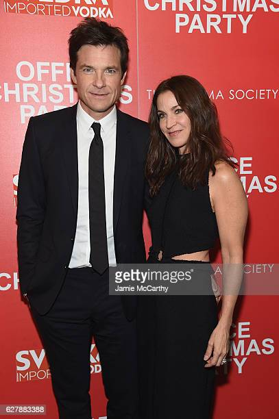 Jason Bateman and Amanda Anka attend the Paramount Pictures with The Cinema Society Svedka host a screening of Office Christmas Party at Landmark...