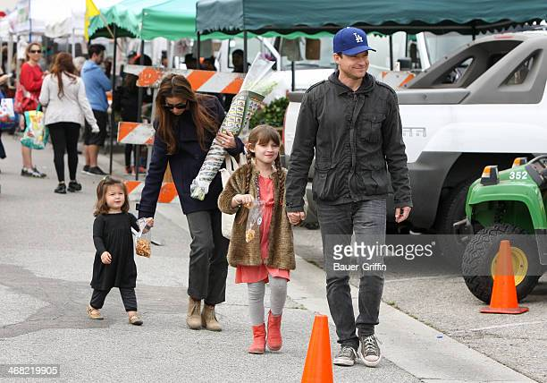 Jason Bateman and Amanda Anka with daughters Francesca Bateman and Maple Bateman are seen on February 09 2014 in Los Angeles California