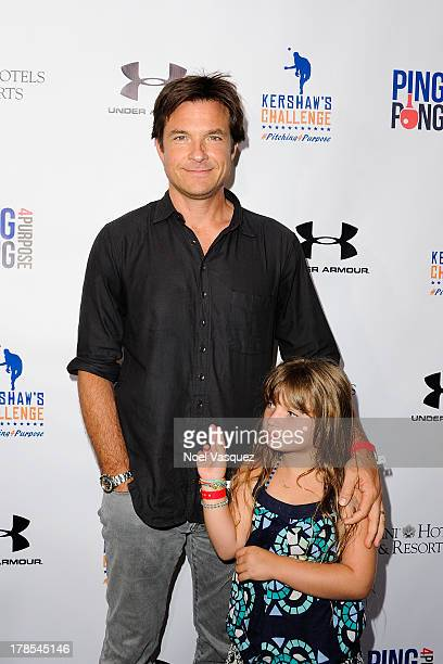 Jason Bateman and his daughter Francesca attend Clayton Kershaw's inaugural Ping Pong 4 Purpose at Dodger Stadium on August 29, 2013 in Los Angeles,...