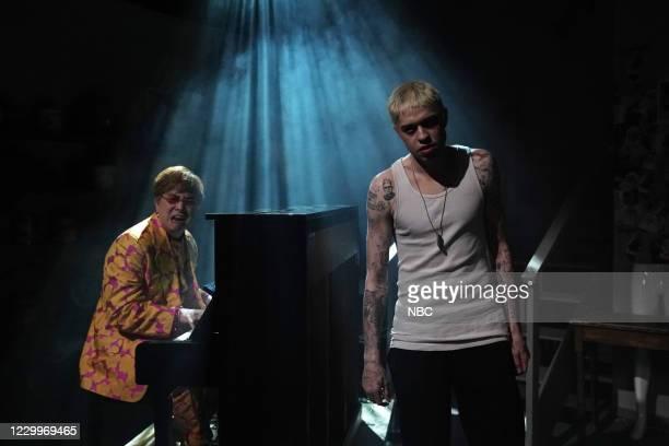 """Jason Bateman"""" Episode 1792 -- Pictured: Bowen Yang as Elton John and Pete Davidson as Stu during the """"Stu"""" sketch on Saturday, December 5, 2020 --"""