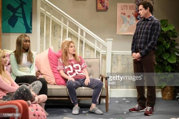 "Jason Bateman"" Episode 1792 -- Pictured: Heidi Gardner, Ego Nwodim, Kate McKinnon as Megan, and host Jason Bateman during the ""Sleepover 2"" sketch on..."
