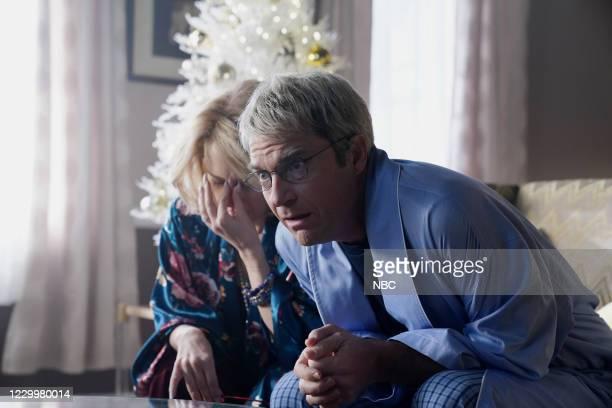 "Jason Bateman"" Episode 1792 -- Pictured: Kate McKinnon and host Jason Bateman during the ""Christmas Conversation"" sketch on Saturday, December 5,..."