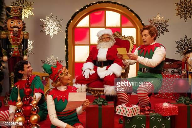 """Jason Bateman"""" Episode 1792 -- Pictured: Kyle Mooney as an elf, Chloe Fineman as an elf, host Jason Bateman as Santa, and Beck Bennett as an elf..."""