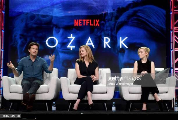 Jason Bateman Laura Linney and Julia Garner of 'Ozark' speak onstage during Netflix TCA 2018 at The Beverly Hilton Hotel on July 29 2018 in Beverly...