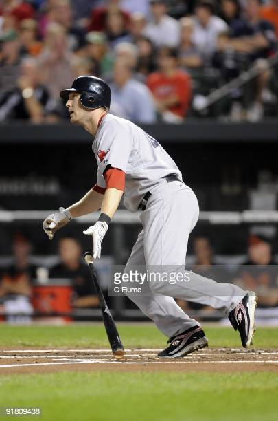 Jason Bay of the Boston Red Sox bats against the Baltimore Orioles on September 18 2009 at Camden Yards in Baltimore Maryland
