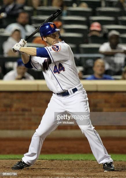 Jason Bay of the New York Mets bats against the Florida Marlins on April 7 2010 at Citi Field in the Flushing neighborhood of the Queens borough of...