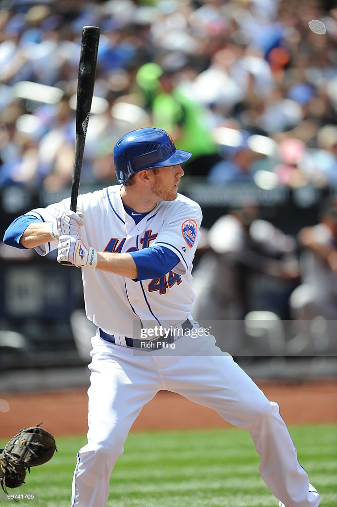 Jason Bay of the New York Mets bats during the extra inning game against the San Francisco Giants at Citi Field in Flushing, New York on May 8, 2010. The Mets defeated the Gaints 5-4 in 11 innings.