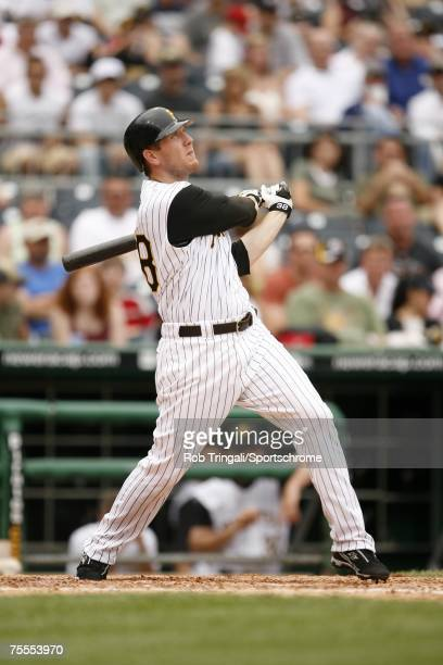 Jason Bay of the Pittsburgh Pirates bats against the Los Angeles Dodgers on June 3, 2007 at PNC Park in Pittsburgh, Pennsylvania. The Dodgers...