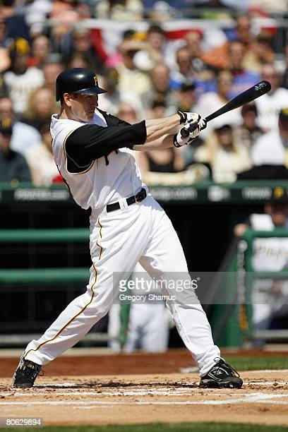 Jason Bay of the Pittsburgh Pirates swings at a pitch against the Chicago Cubs during the Home Opener for the Pittsburgh Pirates on April 7 2008 at...
