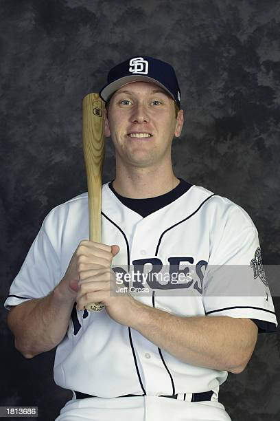Jason Bay of the San Diego Padres poses for a portrait during the Padres' spring training Media Day at Peoria Stadium on February 20 2003 in Peoria...
