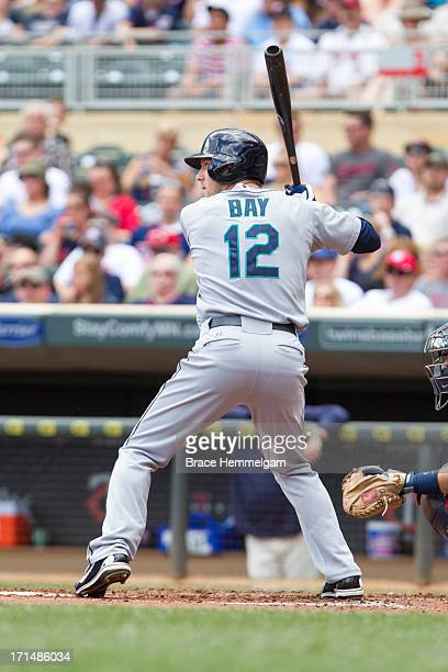 Jason Bay of the Seattle Mariners bats against the Minnesota Twins on June 1 2013 at Target Field in Minneapolis Minnesota The Twins defeated the...