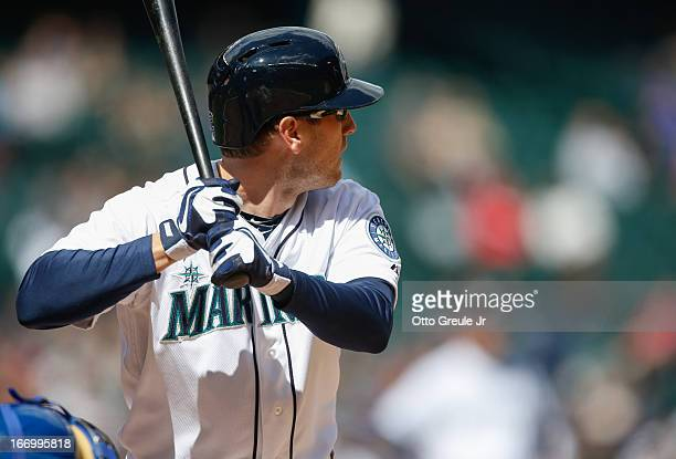 Jason Bay of the Seattle Mariners bats against the Texas Rangers at Safeco Field on April 14 2013 in Seattle Washington