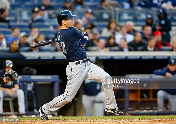 Jason Bay of the Seattle Mariners in action against the New York Yankees at Yankee Stadium on May 14 2013 in the Bronx borough of New York City The...