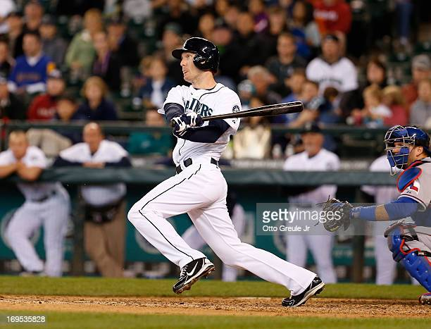 Jason Bay of the Seattle Mariners watches his gamewinning hit in the thirteenth inning to defeat the Texas Rangers 43 at Safeco Field on May 26 2013...