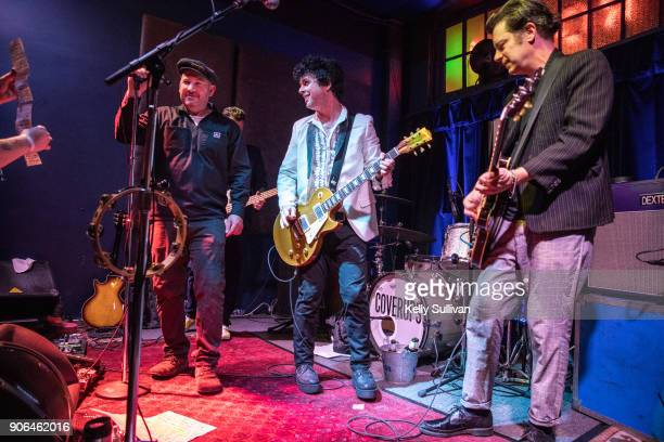 Jason Beebout of Samiam joins Billie Joe Armstrong and Jason White onstage at the Ivy Room on January 15 2018 in Albany California