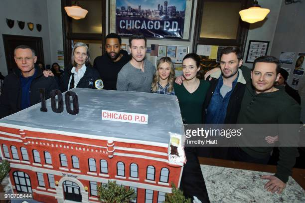 Jason Beghe Amy Morton LaRoyce Hawkins Jon Seda Tracy Spiridakos Marina Squeciati Patrick John Flueger and Jesse Lee Soffer attend the 100th Episode...