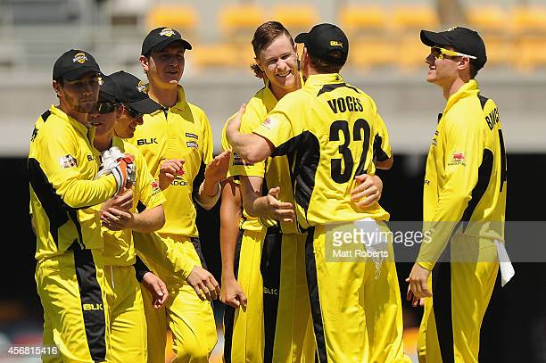 Jason Behrendorf of the Warriors celebrates with team mates the wicket of Tim Davey of the Redbacks during the Matador BBQs One Day Cup match between...