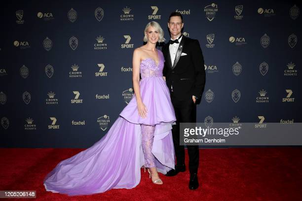 Jason Behrendorff and Juvelle Behrendorff arrive ahead of the 2020 Cricket Australia Awards at Crown Palladium on February 10 2020 in Melbourne...