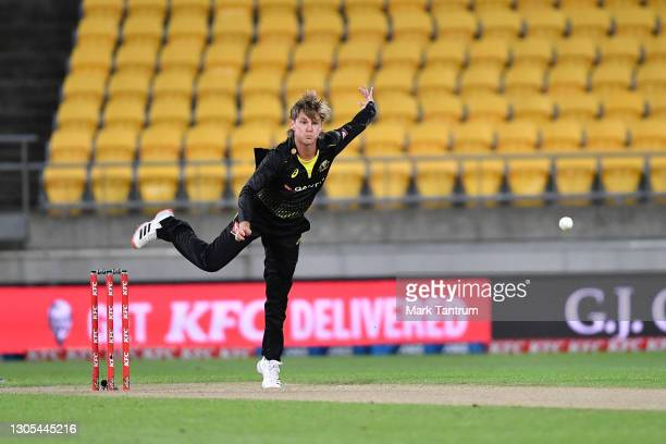 Jason Behrendorff of Australia during game four of the International T20 series between New Zealand Blackcaps and Australia at Sky Stadium on March...