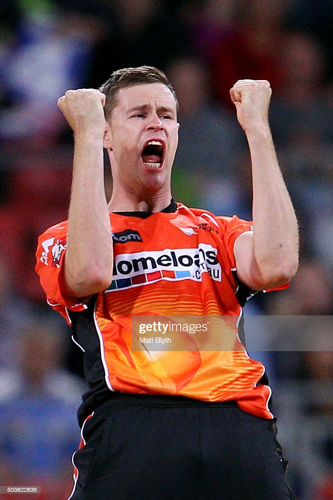 Jason Behrendorff of the Scorchers celebrates the wicket ...