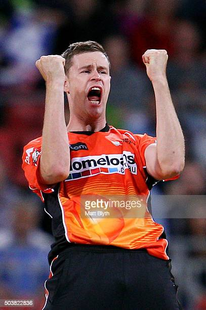 Jason Behrendorff of the Scorchers celebrates the wicket of Aiden Blizzard of the Thunder during the Big Bash League match between the Sydney Thunder...