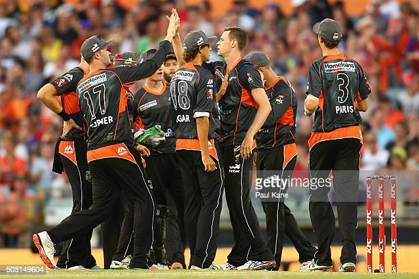 Jason Behrendorff of the Scorchers celebrates the wicket of Johan Botha of the Sixers during the Big Bash League match between Perth Scorchers and...