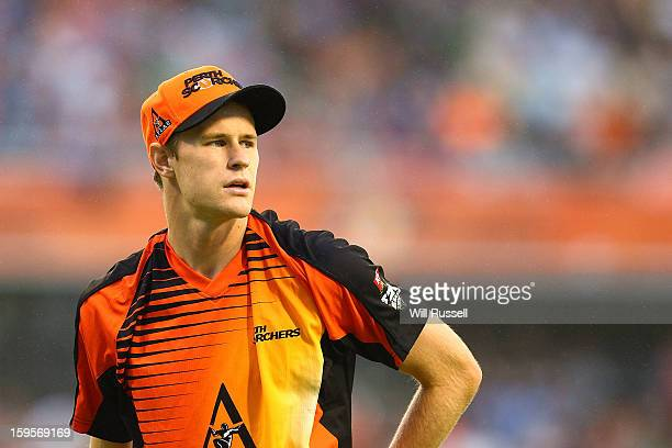 Jason Behrendorff of the Scorchers looks on from the outfield during the Big Bash League semifinal match between the Perth Scorchers and the...
