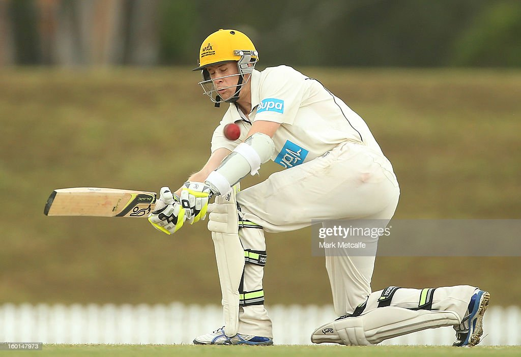 Jason Behrendorff of the Warriors bats during day four of the Sheffield Shield match between the New South Wales Blues and the Western Australia Warriors at Bankstown Oval on January 27, 2013 in Sydney, Australia.