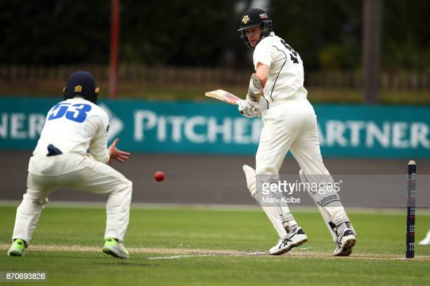 Jason Behrendorff of the Warriors bats during day three of the Sheffield Shield match between New South Wales and Western Australia at Hurstville...