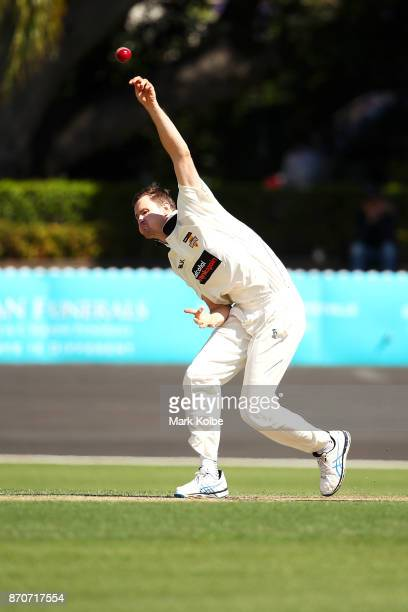 Jason Behrendorff of the Warriors bowls during day three of the Sheffield Shield match between New South Wales and Western Australia at Hurstville...
