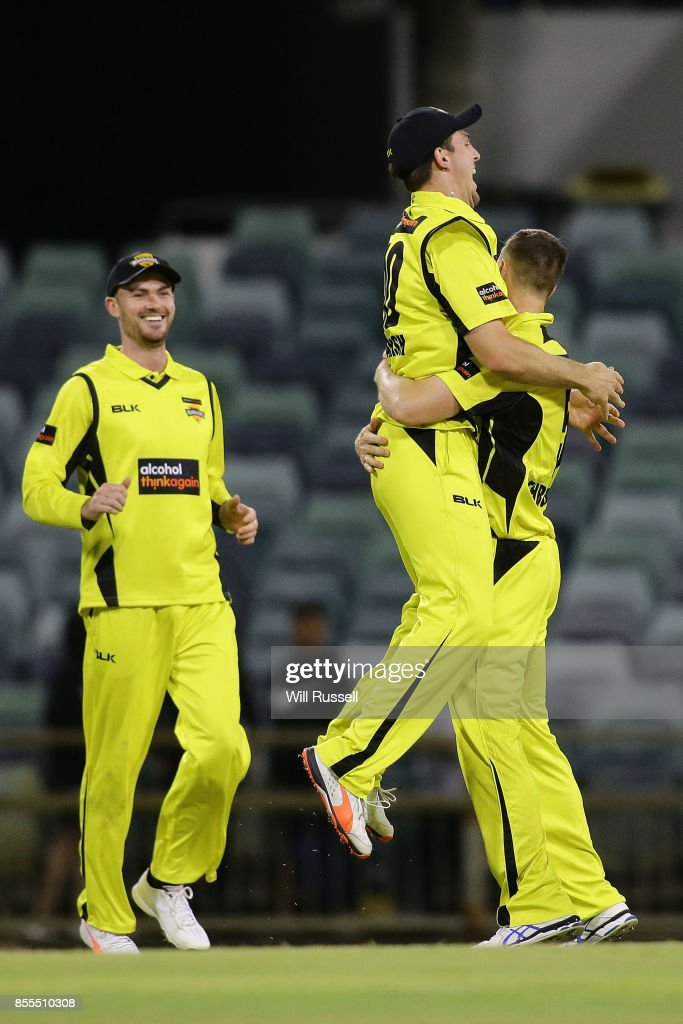 Jason Behrendorff of WA celebrates after taking the wicket of Mickey Edwards of NSW during the JLT One Day Cup match between New South Wales and Western Australia at WACA on September 29, 2017 in Perth, Australia.