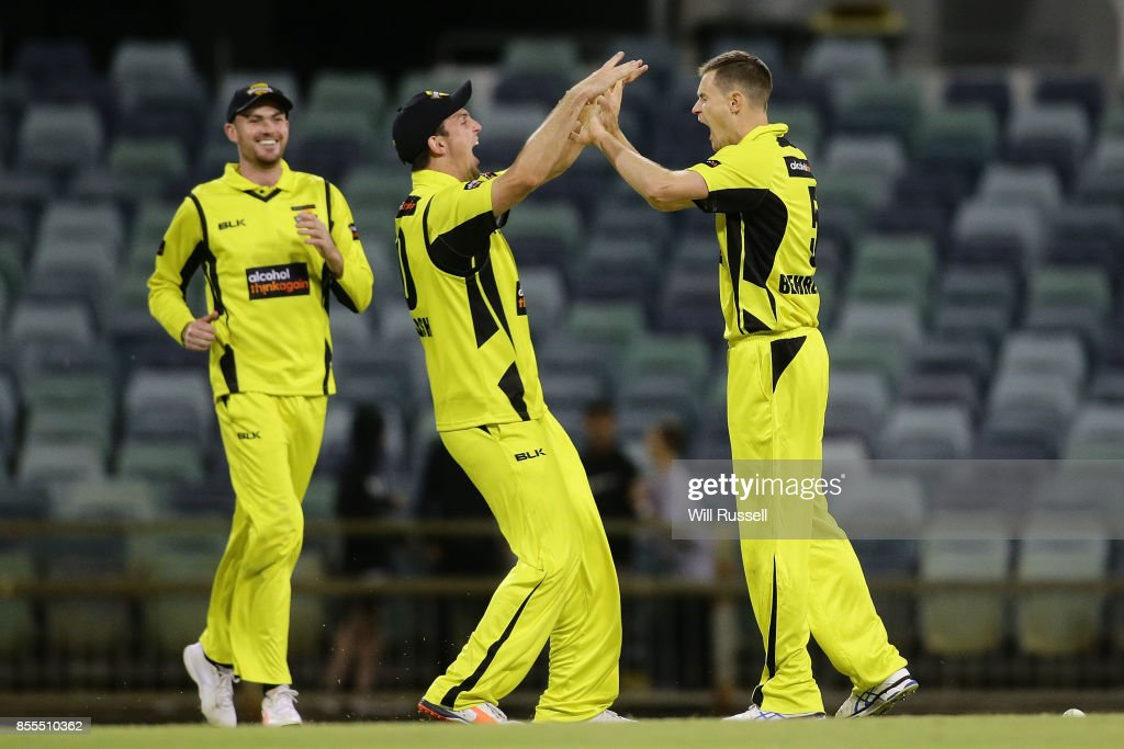Jason Behrendorff of WA celebrates after taking the wicket of Mickey Edwards of NSW to win the match during the JLT One Day Cup match between New South Wales and Western Australia at WACA on September 29, 2017 in Perth, Australia.