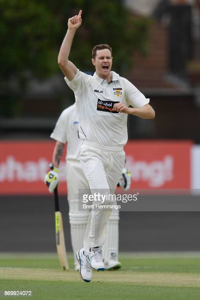 Jason Behrendorff of WA celebrates taking the wicket of David Warner of NSW during day one of the Sheffield Shield match between New South Wales and...