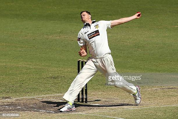 Jason Behrendorff of Western Australia bowls during day four of the Sheffield Shield match between Western Australia and Tasmania at WACA on November...