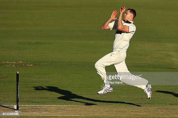 Jason Behrendorff of Western Australia bowls during day two of the Sheffield Shield match between Western Australia and Tasmania at WACA on November...