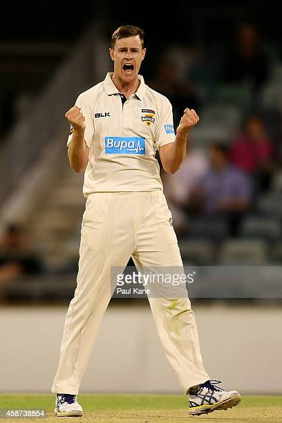Jason Behrendorff of Western Australia celebrates the wicket of James Hopes of Queensland during day three of the Sheffield Shield match between...