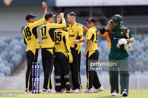 Jason Behrendorff of Western Australia celebrates the wicket of Matthew Wade of Tasmania during the Marsh One Day Cup match between Western Australia...