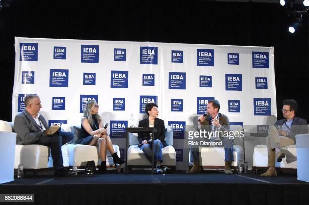 Jason Bernstein Berkeley Reinhold Pam Matthews Tim Epstein and Brent Daughrity speak onstage at the Terms Conditions Power Panel during the IEBA 2017...