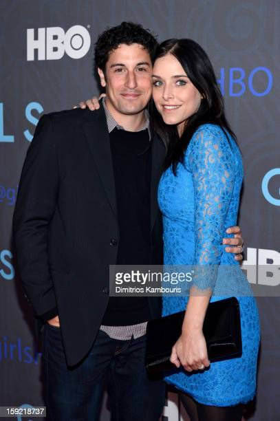 Jason Biggs and guest attend the HBO premiere of 'Girls' Season 2 at the NYU Skirball Center on January 9 2013 in New York City