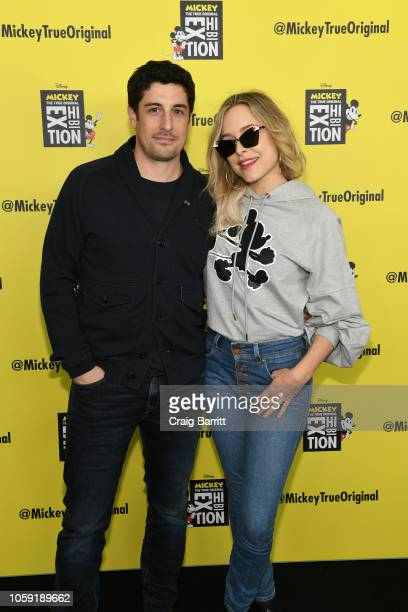 Jason Biggs and Jenny Mollen attend Mickey The True Original Exhibition reception to commemorate Mickey Mouse's 90th anniversary The 16000 squarefoot...