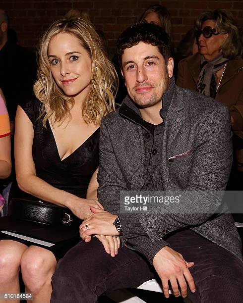 Jason Biggs and Jenny Mollen attend the Christian Siriano Fall 2016 fashion show during New York Fashion Week at ArtBeam on February 13 2016 in New...