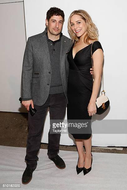 Jason Biggs and Jenny Mollen attend the Fall 2016 Christian Siriano Fashion Show at ArtBeam on February 13 2016 in New York City
