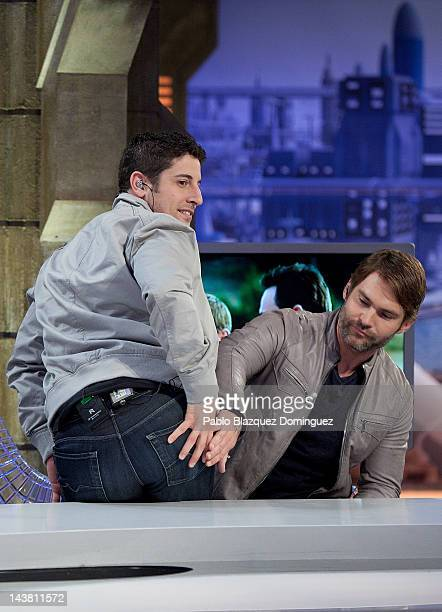 Jason Biggs and Seann Willian Scott attend 'El Hormiguero' Tv Show at Vertice Studios on May 3 2012 in Madrid Spain