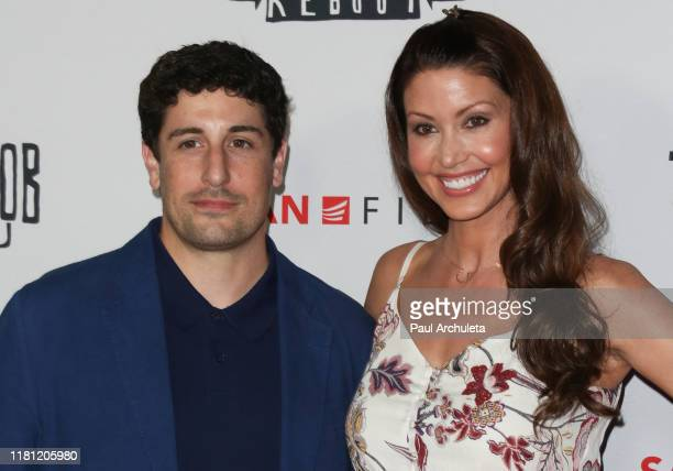 Jason Biggs and Shannon Elizabeth attend the Premiere of Jay Silent Bob Reboot at TCL Chinese Theatre on October 14 2019 in Hollywood California