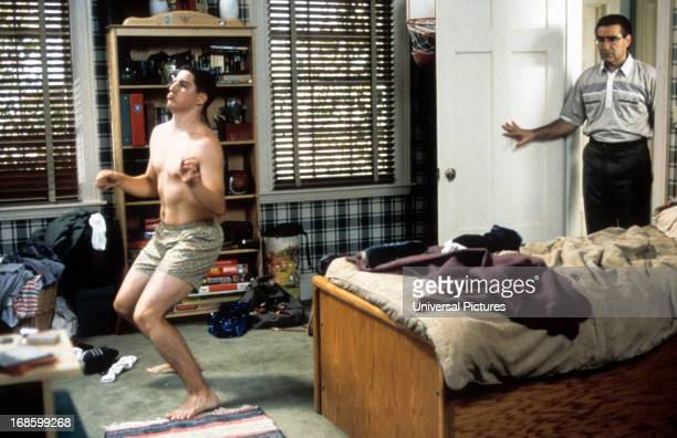 Jason Biggs is caught dancing in his boxers by Eugene Levy in a scene from the film 'American Pie' 1999