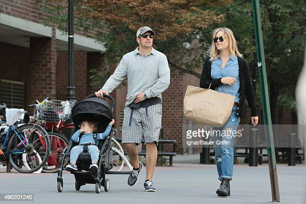 Jason Biggs Jenny Mollen and Sid Biggs are seen on September 26 2015 in New York City