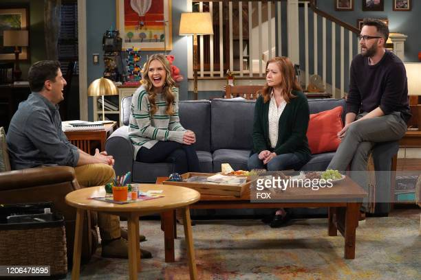 Jason Biggs Maggie Lawson and guest stars Alyson Hannigan and Eddie Kaye Thomas in the Couples Friends episode of OUTMATCHED airing Thursday Mar 12...